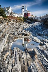 Lighthouse Reflection, Pemaquid Point, Maine by George Oze