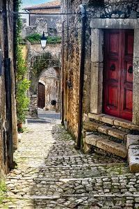 Narrow Cobblestone Sermoneta Italy by George Oze