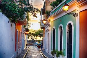 Old San Juan Sunset Glow by George Oze