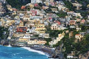 Positano Houses And Beach From Above, Italy by George Oze