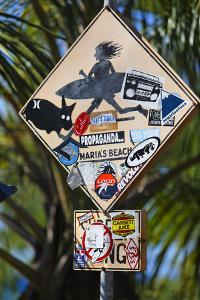 Surfer Crossing Sign, Rincon, PR by George Oze