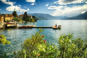 Varenna Harbor View On Lake Como by George Oze