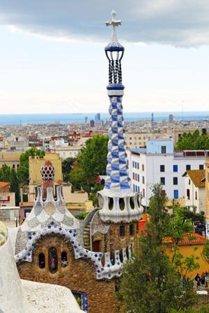 White and Blue Tower, Park Guell, Barcelona, Spain by George Oze