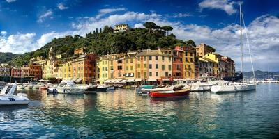 Wide View of Portofino Harbor, Liguria, Italy