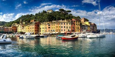 Wide View of Portofino Harbor, Liguria, Italy by George Oze