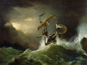 A First Rate Man-Of-War Driven onto a Reef of Rocks, Floundering in a Gale by George Philip Reinagle