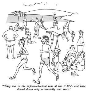 """""""They met in the express-checkout lane at the A. & P. and have slowed down…"""" - New Yorker Cartoon by George Price"""