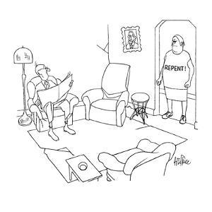 """Wife stands in doorway of den staring angrily at husband who is reading th?"""" - New Yorker Cartoon by George Price"""