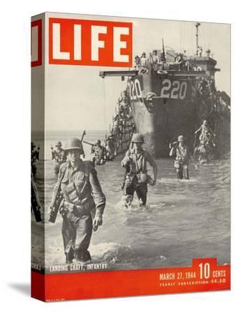 American Troops Wading Ashore from Landing Craft During the Invasion of Salerno, March 27, 1944