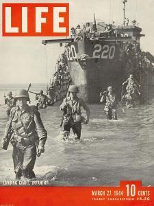 American Troops Wading Ashore from Landing Craft During the Invasion of Salerno, March 27, 1944 by George Rodger
