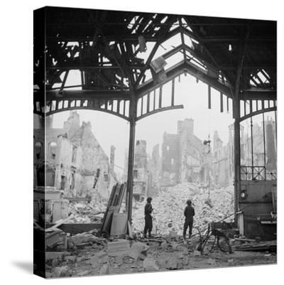 Destruction Visible During Allied Campaign to Liberate Caen During WWII
