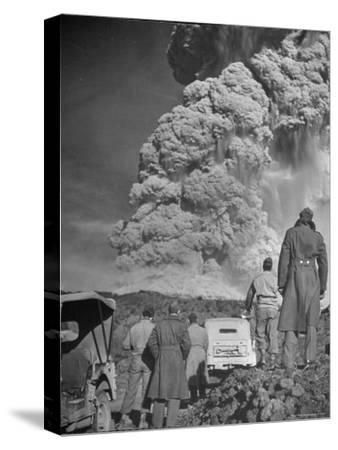Servicemen Viewing Eruption of Volcano Mount Vesuvius