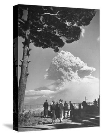 Spectators Viewing Eruption of Volcano Mount Vesuvius