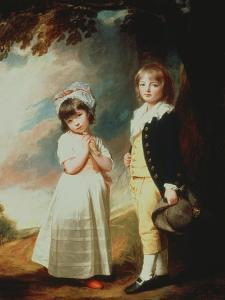 Portrait of Edward Stanley (D.1851) 13th Earl of Derby, with His Sister, Lady Charlotte Stanley by George Romney