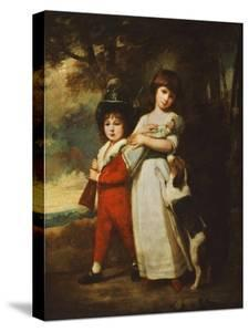 Portrait of the Vernon Children, the Little Girl Standing Full Length in a White Dress Tied with… by George Romney