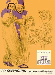 New Orleans - Mardi Gras - Greyhound Bus Lines by George Roth