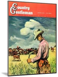 """""""Herding Cattle,"""" Country Gentleman Cover, January 1, 1942 by George Schreiber"""