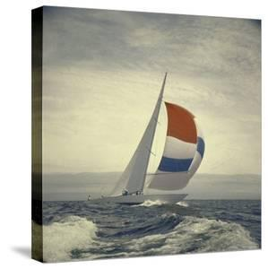 12-m. Yacht Nefertiti, Designed by Ted Hood, Sailing Through Waves at Pre America's Cup Test Run by George Silk