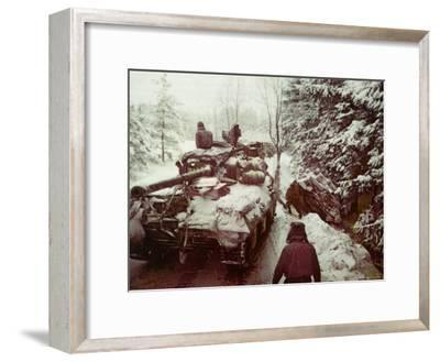 American Sherman M4 Tank at the Battle of the Bulge, the Last Major German Offensive of WWII