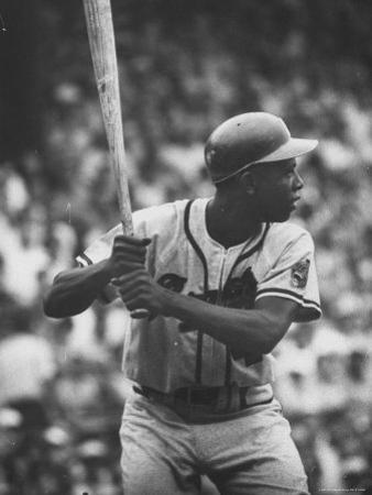Baseball Player Hank Aaron Waiting for the Pitch