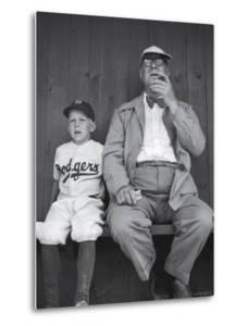 Brooklyn Dodgers General Manager Branch Rickey Sitting with Grandson Watching Spring Training by George Silk