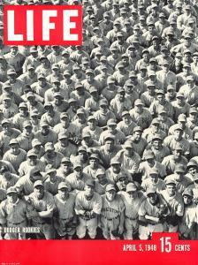 Crowd of Brooklyn Dodger Rookie Players Gathered at Dodgertown, Spring Training, May 5, 1948 by George Silk