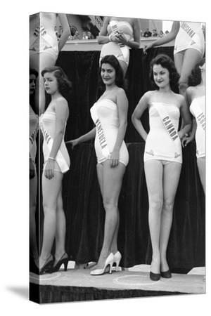 First Miss Universe Contest, Miss Venezuela and Miss Canada, Long Beach, CA, 1952