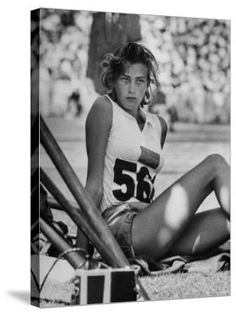 Gunhild Larking, Sweden's Entry for High Jump, Nervously Awaiting Turn to Compete at Olympic Games