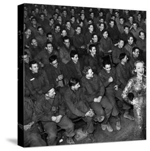 Marlene Dietrich with Back Turned on Audience of Servicemen during Her Mental Telepathy Act by George Silk
