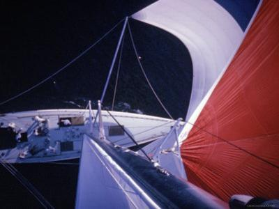 Red Topped Spinnaker Bellying Out from Nefertiti's Towering Mast During America's Cup Trials by George Silk