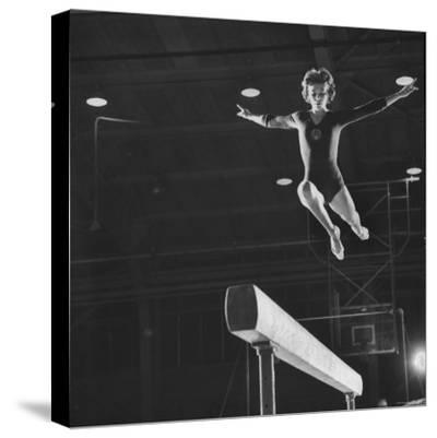Soviet Gymnast Larisa Latnina in US Soviet Meet at West Chester State Teachers' College