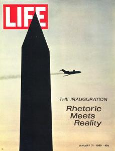 The Inauguration: Rhetoric Meets Reality, Washington Monument and Plane, January 31, 1969 by George Silk