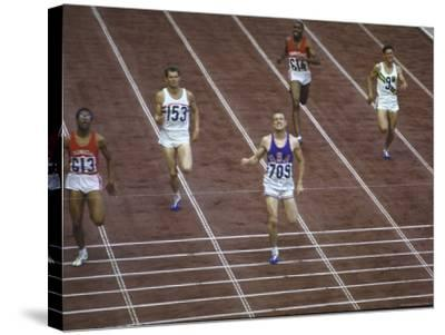 US Athlete Michael Larrabee Winning the 400 Meters at the Summer Olympics