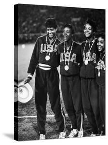 US Relay Team, Wilma Rudolph and Martha Hudson at Olympics by George Silk