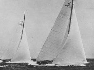 View of Sailboats Intrepid and Columbia During the America's Cup Trials by George Silk