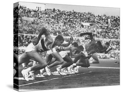 West Germany's Armin Harry, Winner of Men's 100 Meter Dash at Start of Event in Summer Olympics