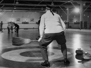 Men Curling with Mops and Brooms by George Skadding