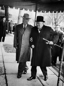 Pres. Harry Truman Walking Arm-In-Arm with British Prime Minister Winston Churchill, Blair House by George Skadding