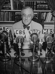 President Franklin D. Roosevelt, Broadcasting a Speech over the Radio from the White House by George Skadding