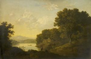 Lake Scene with Boat and Anglers by George Smith