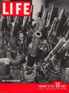 Artillery in the Brooklyn Navy Yard, Guns For Merchantmen, February 23, 1942 by George Strock