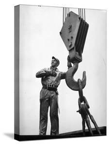 Man Working in Shipbuilding Industry by George Strock