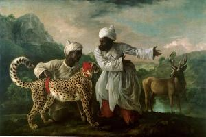 Cheetah and Stag with Two Indians, C.1765 by George Stubbs