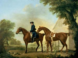 Mr. Crewe's Hunters with a Groom Near a Wooden Barn by George Stubbs