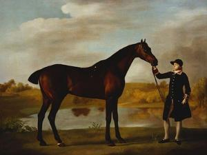 The Duke of Marlborough's (?) Bay Hunter, with a Groom in Livery in a Lake Landscape by George Stubbs