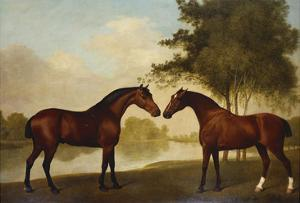 Two Hunters by a Lake by George Stubbs