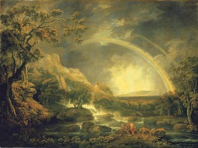 Extensive Wooded River Landscape, with Anglers Beside a Pool Below a Waterfall, and a Rainbow