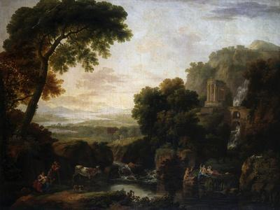 Italianate Landscape with a Capriccio View of Tivoli, a Shepherd and Shepherdess and Cattle
