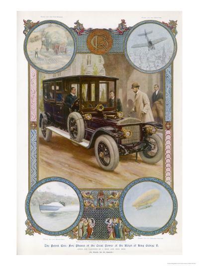 George V Enters the Royal Daimler-Samuel Begg-Giclee Print