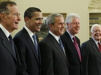George W. Bush with Barack Obama and Former Presidents Bush, Clinton and Carter in Oval Office